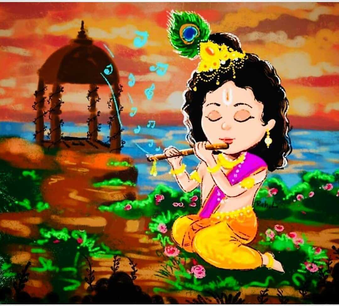 Images of Krishna Fluting Music - Images of Lord Krishna fluting beautiful music for shree Radha Ji. Shree krishna image while singing for her lover radha. Krishna beautiful painting would touch your heart.