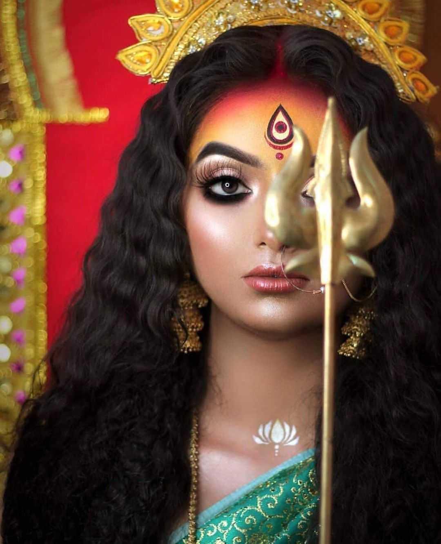 "3 Eyed Durga Maa Wallpaper Navratri Wallpaper - Download free 3 eyed goddess durga maa wallpaper for devotees. Durga is also addressed as ""Triyambake"" that means 3 eyed goddess. Left eye represents desire, right eye represents action and center eye represents fire (agni). Like god shiva, goddess durga also has 3 eyes."