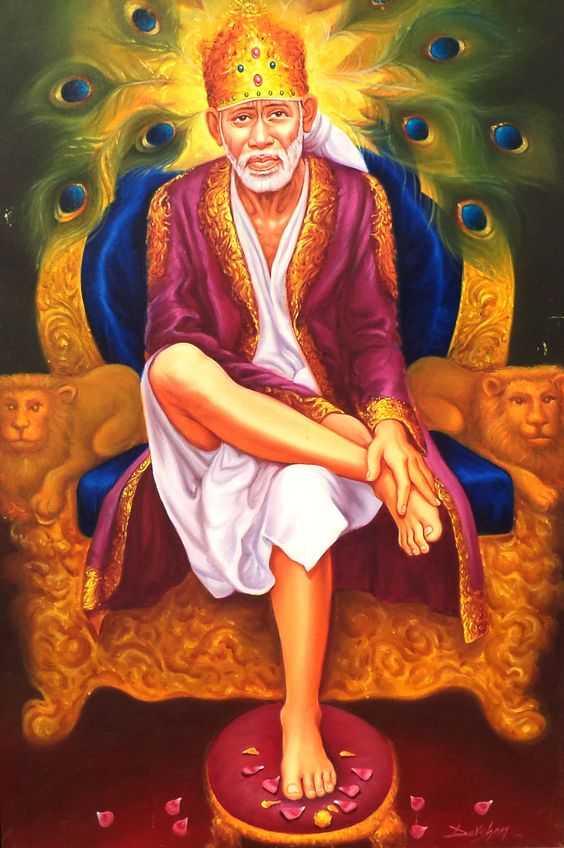 Lord Sai Baba on Throne Wallpaper - Lord Sai Baba on Throne Wallpaper