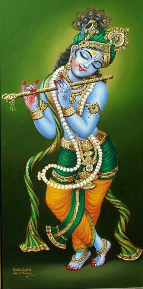 Cute God Krishna Playing Music on Flute - Cute God Krishna Playing Music on Flute
