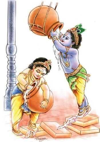 Picture of Lord Krishna Playing with Friends - Picture of Lord Krishna Playing with Friends
