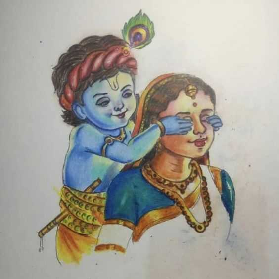 Little Krishna Playing Game with Mother Yashoda - Little Krishna Playing Game with Mother Yashoda