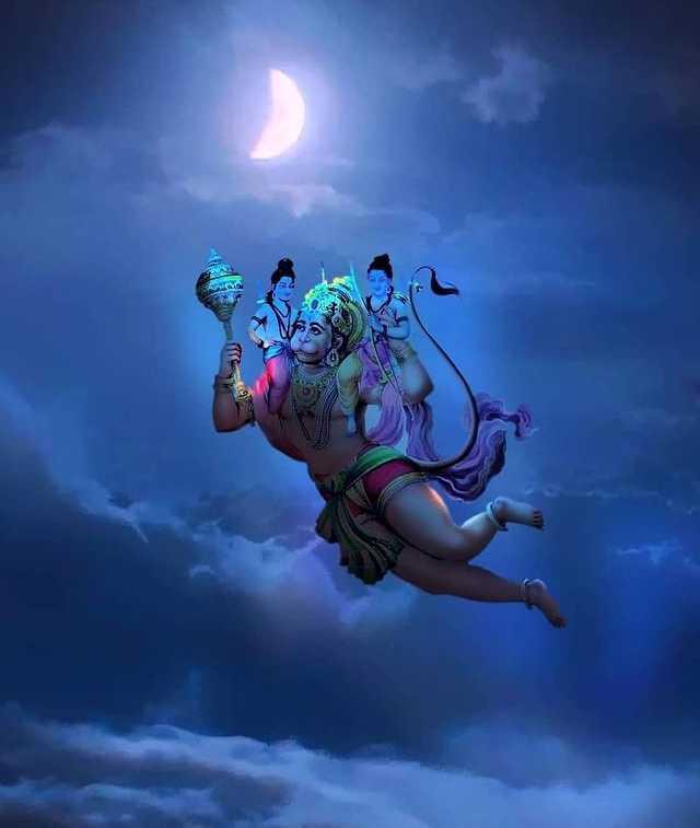 Lord Hanuman Image with Rama and Lakshman - Lord Hanuman Image with Rama and Lakshman