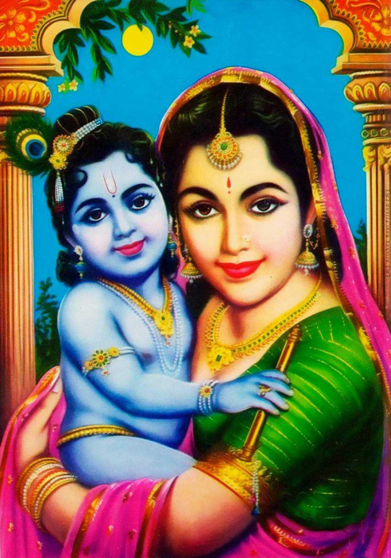 Little Krishna with Maiya Yashoda - Little Krishna with Maiya Yashoda playing with her mother. Cute little krishna is beloved for his mother.