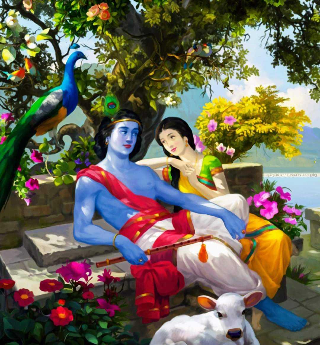 Radha Krishna Romantic Beautiful Image - Radha krishna romantic beautiful photo in garden. Radha spending time with her beloved krishna.