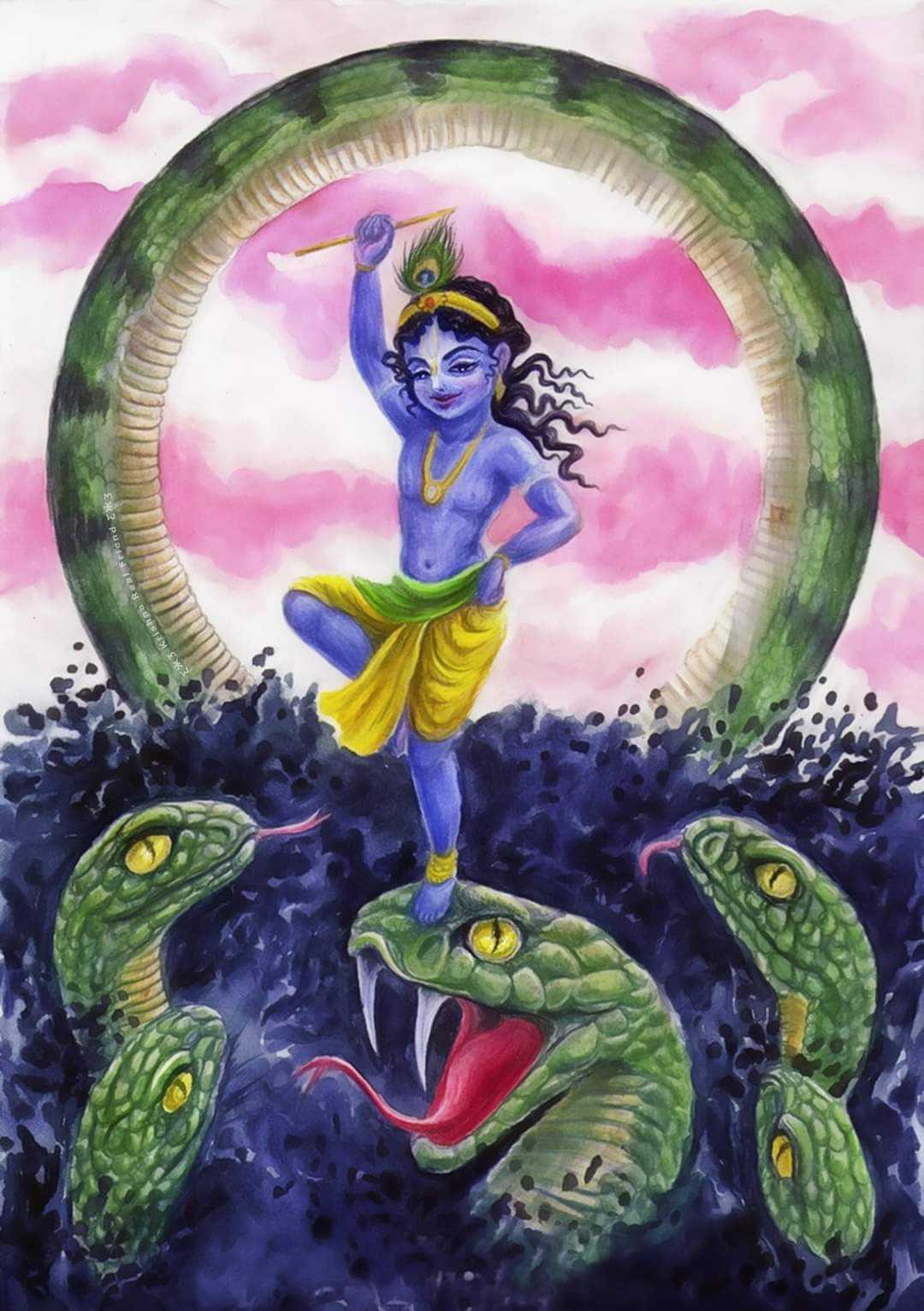 Little Krishna Kill Kaliya Naag - Little krishna kill kaliya naag in his childhood and save gokul peoples. Krishna show his divine leela to world.