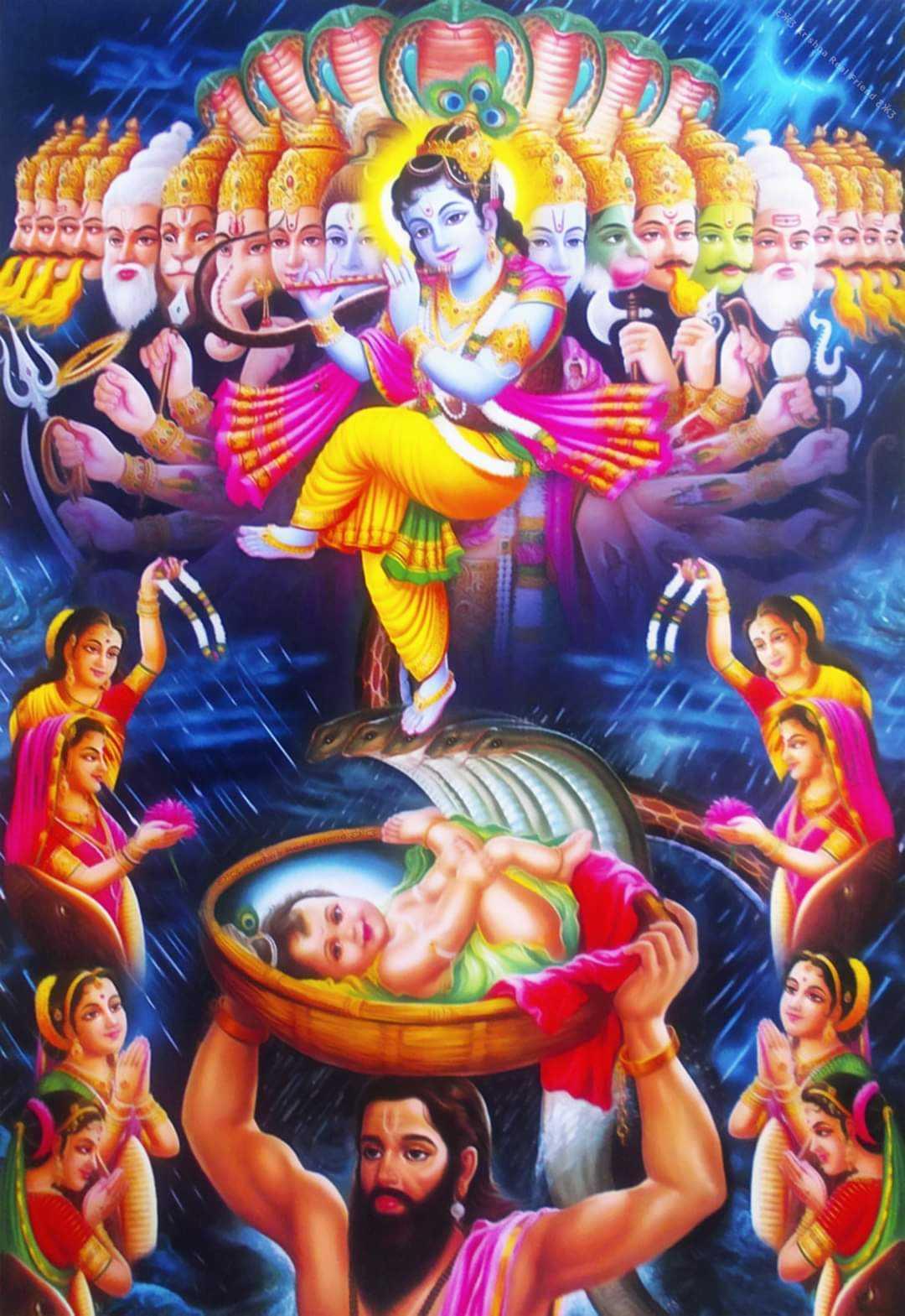 Krishna Avatar Janmashtmi Photo - Krishna awatar photo for janamasthmi wallpaper. Krishna was born in jail and his father vasudeva reach him gokul to save his life from Kans Mama.
