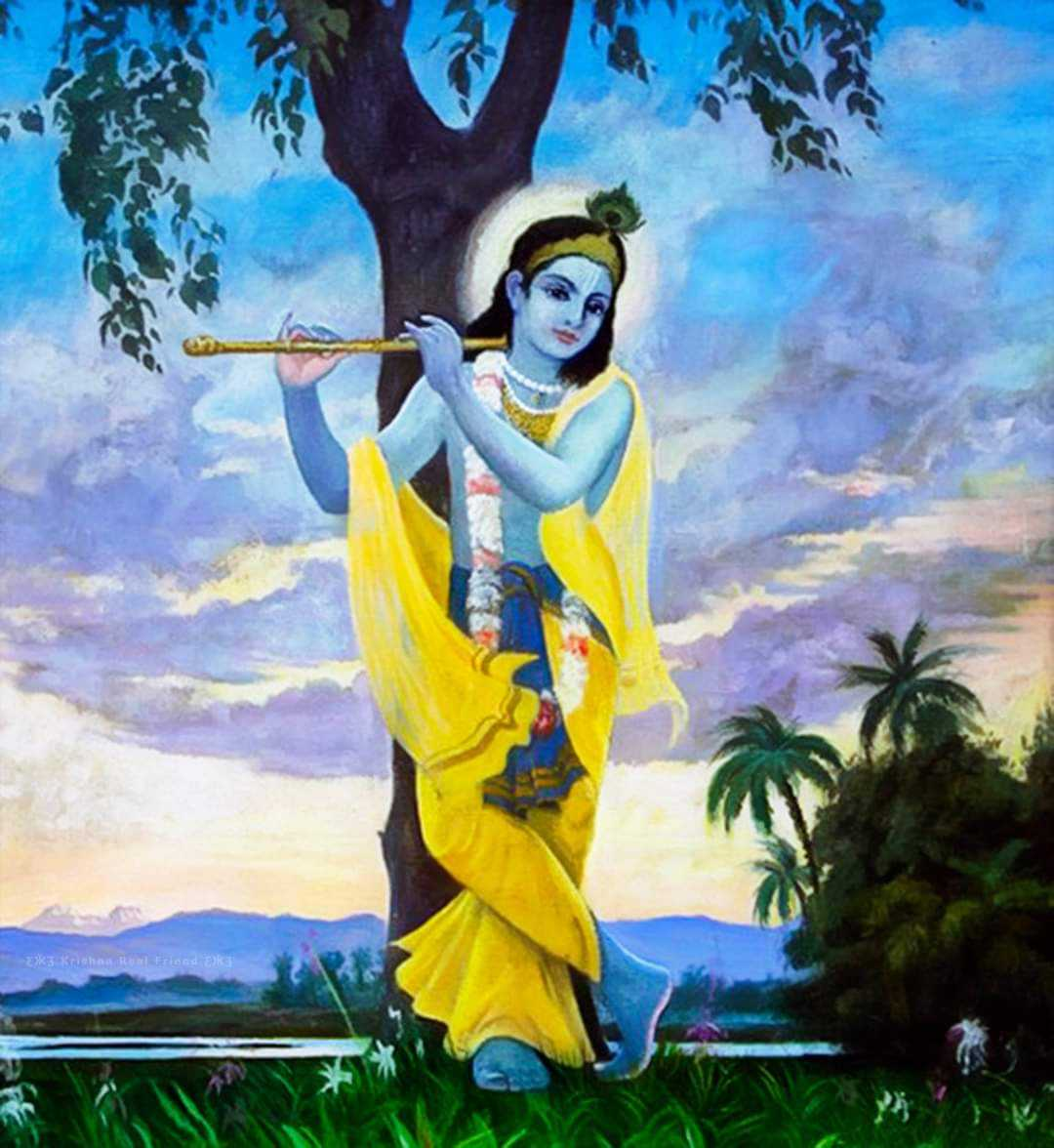 Krishna Beautiful Painting HD - Beautiful Krishna painting wallpaper with blue background. Krishna blue body is the symbol of infinity which define that whole world is in Krishna's body.