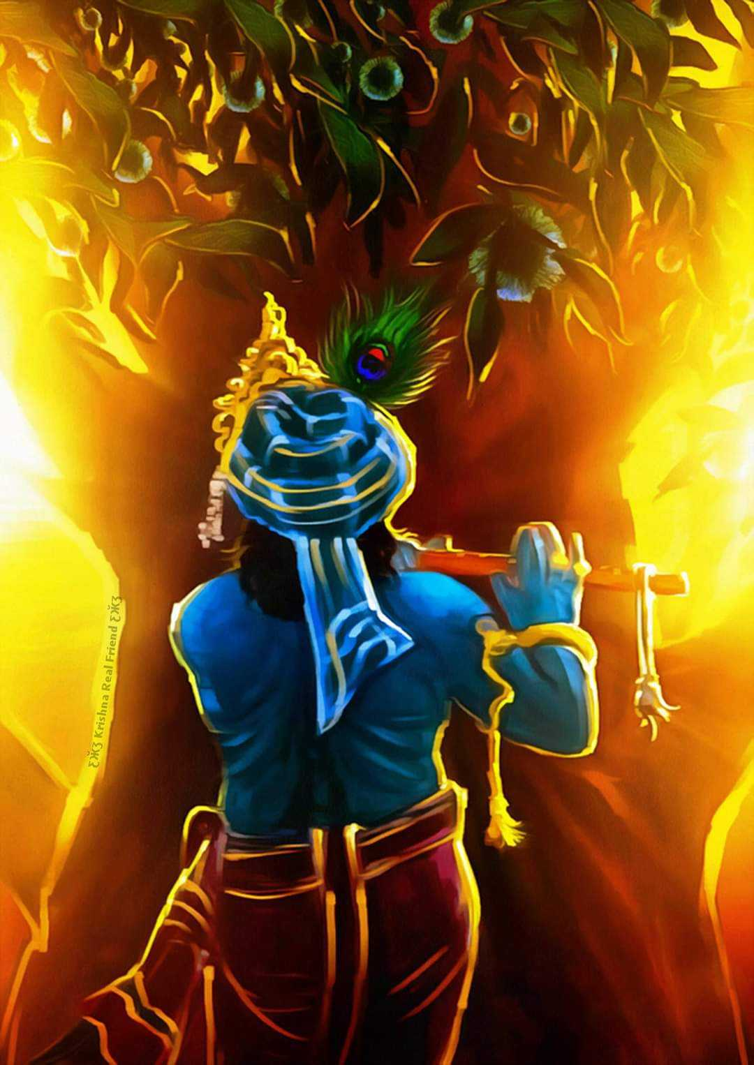 Lord Krishna Animated Beautiful Wallpaper - God krishna animated hd wallpaper for beautiful painting. Krishna cute picture from back is looking so awesome.