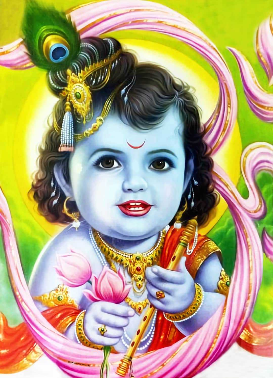 [Wallpaper] Cute Lord Krishna Smiling, Little Krishna - Little Krishna smiling wallpaper at the of his childhood. God Krishna educate the world about the law of Karma and Dharma. His whole life is a model for the new generation. His life is full of inspiration and source of joy. He played many roles to each peoples, He was a perfect child, a brother, a charioteer, a warrior, a disciple, a guru, a cowherd, a messenger, the beloved of the gopis.