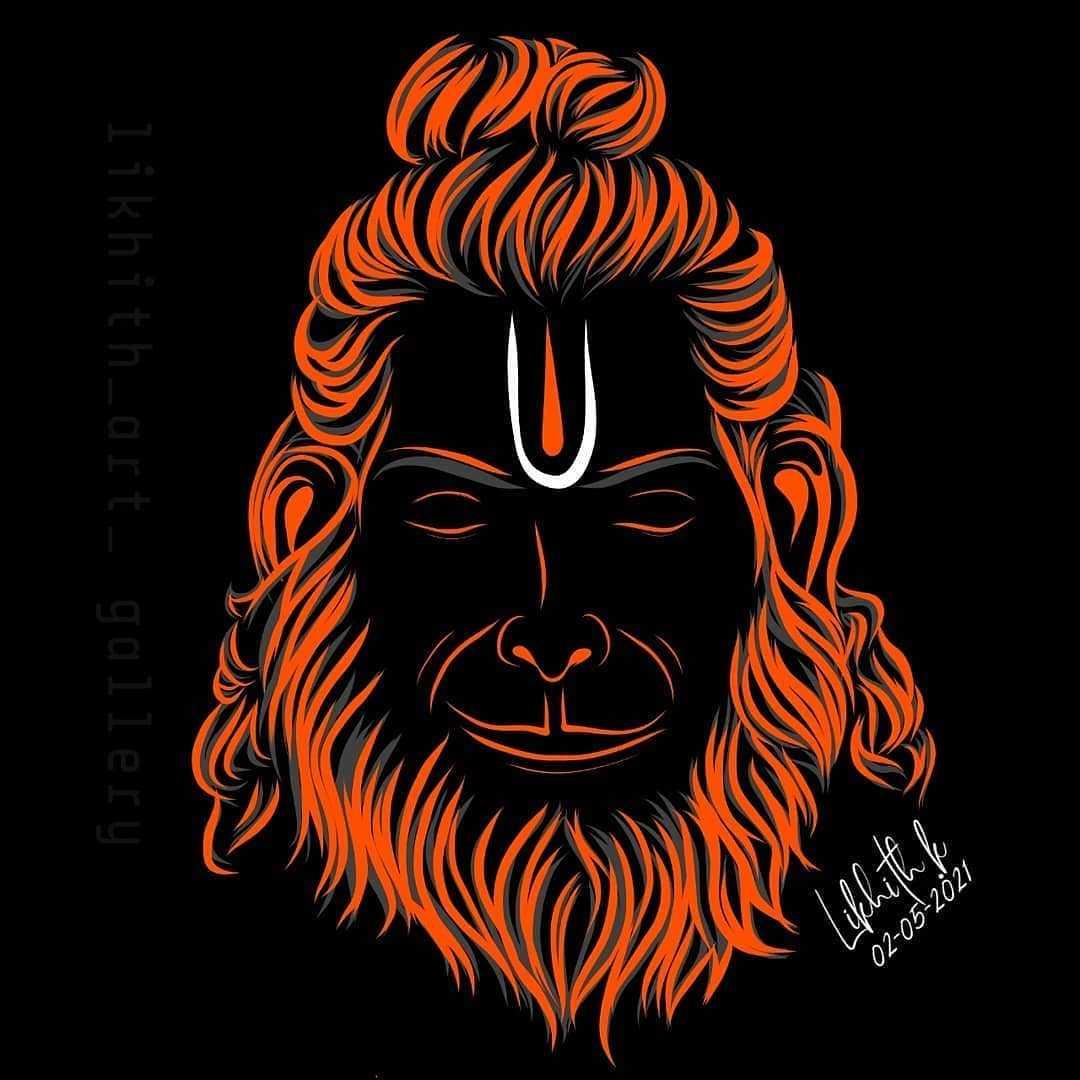 Lord Hanuman Bhagwan Ji HD Poster in Black - Lord Hanuman Bhagwan Ji HD Poster in Black