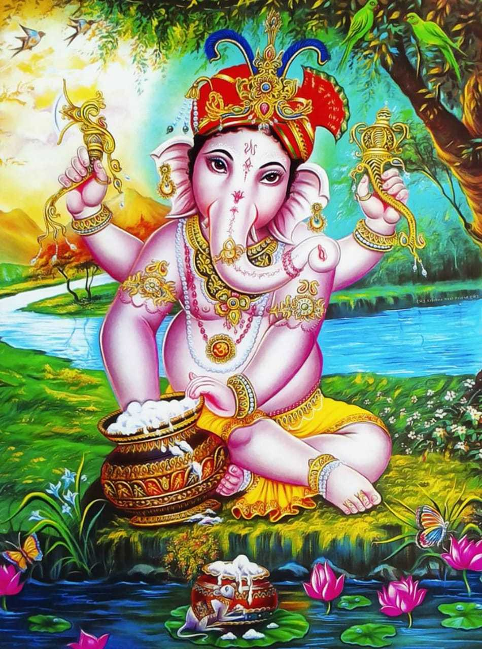In Picture : Lord Ganpati Ganesha Bhagwan Ji - We pray that Lord Ganesha ji ease out your worries & sufferings too to Bless all of us with His Aura. I strongly recommend you to also invite Him to your Homes. God Bless
