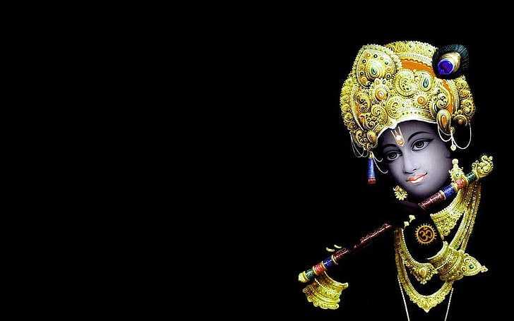 God Krishna Wallpaper | Black Background Krishna Wallpaper - Bhagwan God Krishna Black Background Wallpaper. God Krishna HD Black Photos for Desktop. Whatsapp DP Krishna Black Background Picture.