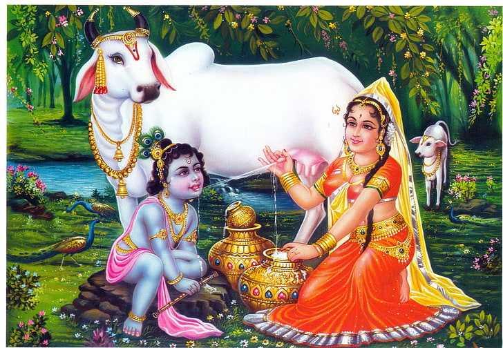 Little Krishna Image | Krishna Cow Mata Yashoda Picture - God Little Krishna Maiya Mata Yashoda Pictures. Bhagwan Krishna Childhood Image with Cow and Mother Yashoda. Krishna Loves Milk, Butter, Curd in Childhood.