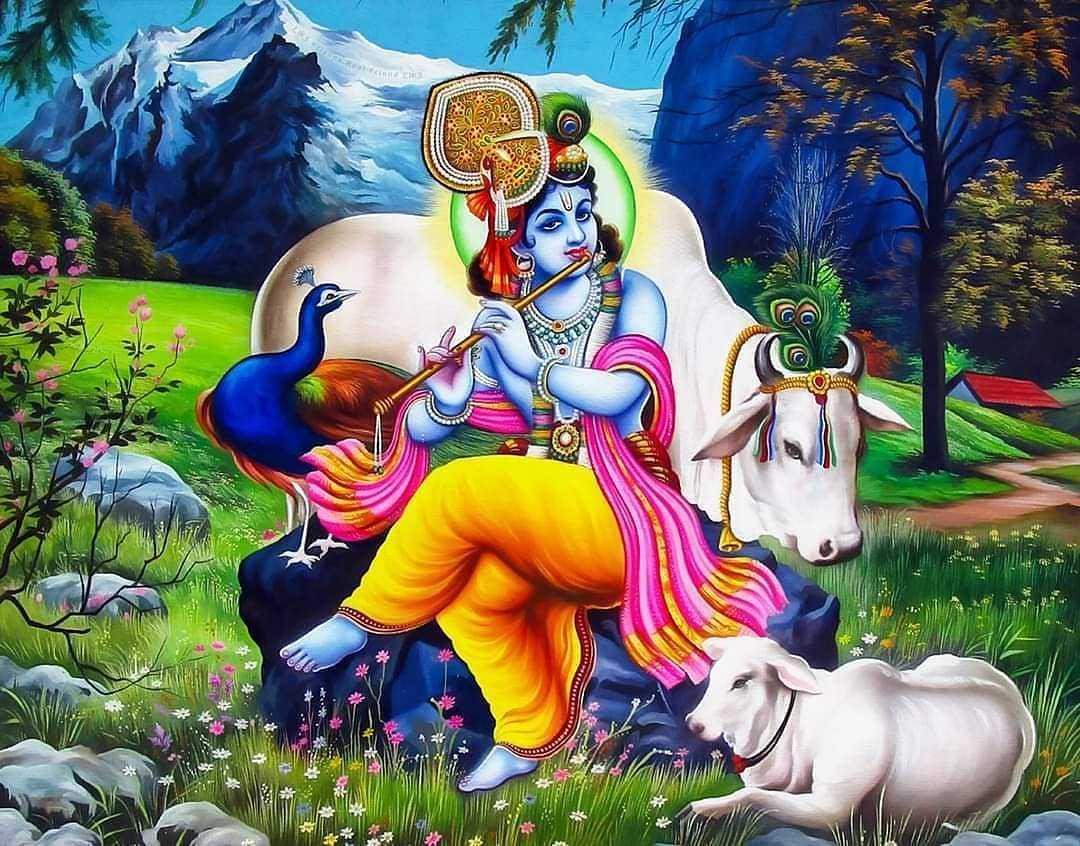 Bansi Bajaiya Lord Krishna HD Wallpaper Free Download - Shri hari krishna bansuri wallpapers free download for desktop, Bansuri bajate hue bhagwan krishna ka wallpaper.