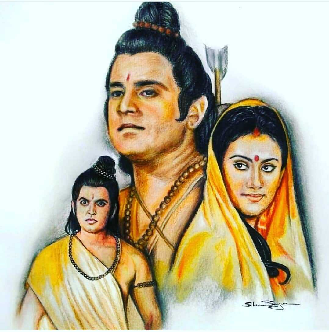 """Lord Rama Sita Laksham Ramayan Painting Wallpaper - Ramayan Painting Wallpaper of Lord Rama, Mata Sita, and Lakshman Ji. This viral painting of Lord Rama considered as """"Picture of the day"""". You can download it to use as your WhatsApp DP."""
