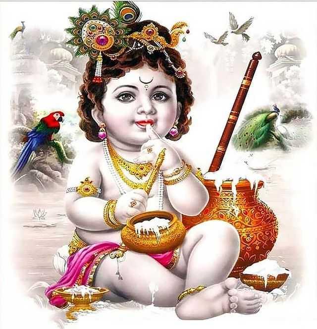 Cute Little Krishna Eating Butter Smiling - Cute Little Krishna Eating Butter Smiling