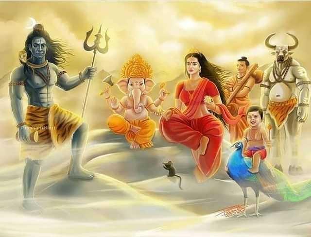 Mahakal Family Wallpaper with Mata Parvati Ganesha and Kartika - Mahakal Family Wallpaper with Mata Parvati Ganesha and Kartika