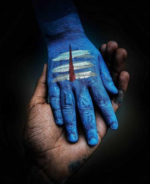 Mahakal Hand Blue Tatto Picture - Mahakal Hand Blue Tatto Picture