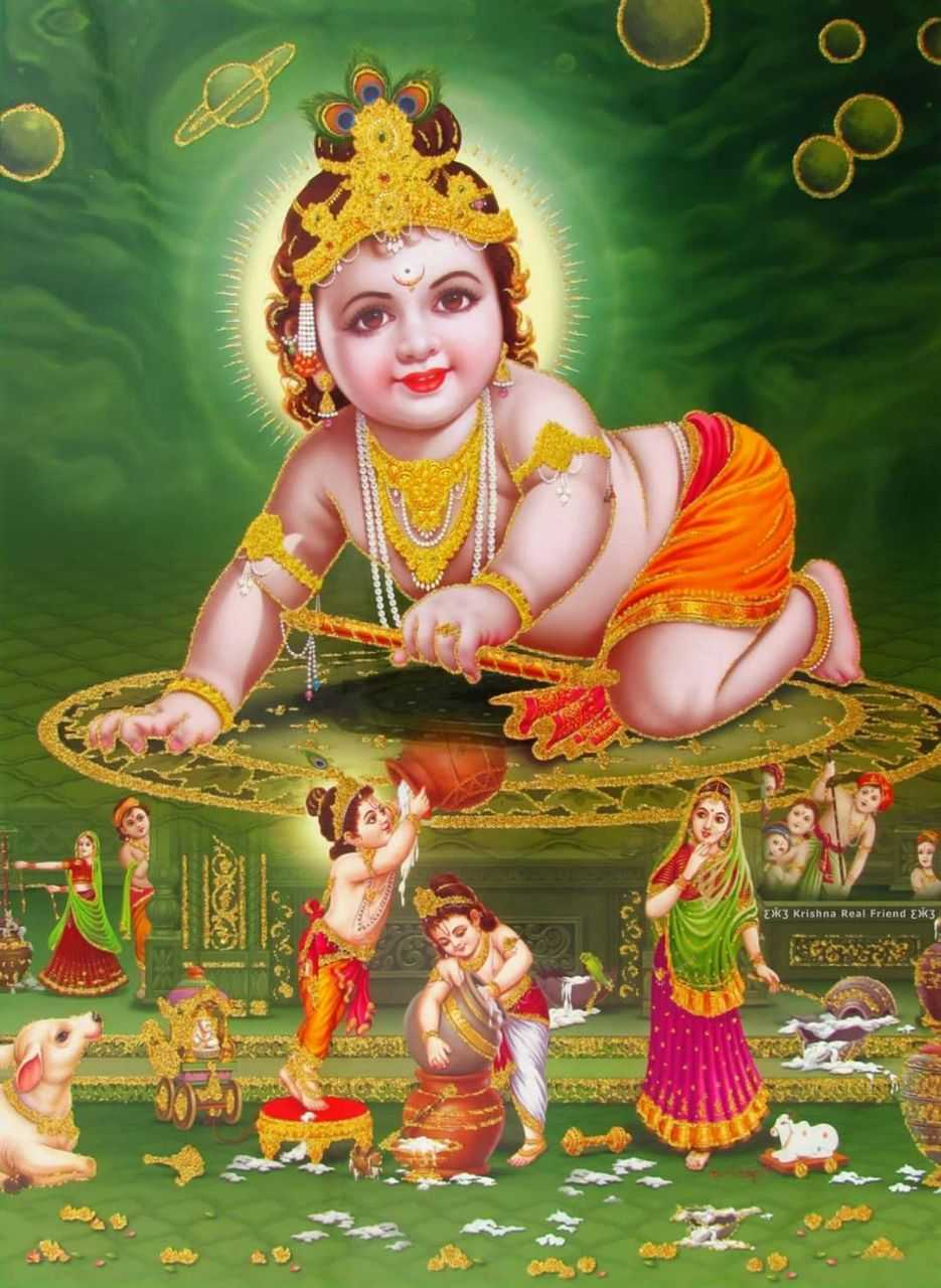 Little God Krishna Childhood HD Wallpaper - Little God Krishna Childhood HD Wallpaper